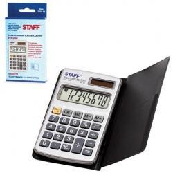 Калькулятор карманный металлический Staff STF-1008, 8 разрядов, двойное питание, 103х62 мм