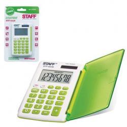 Калькулятор карманный Staff STF-6238, 8 разрядов, двойное питание, 104х63 мм, цвет белый, зеленый