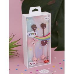Наушники проводные Мишка и Зайка, две пары, цвет коричнево-розовый
